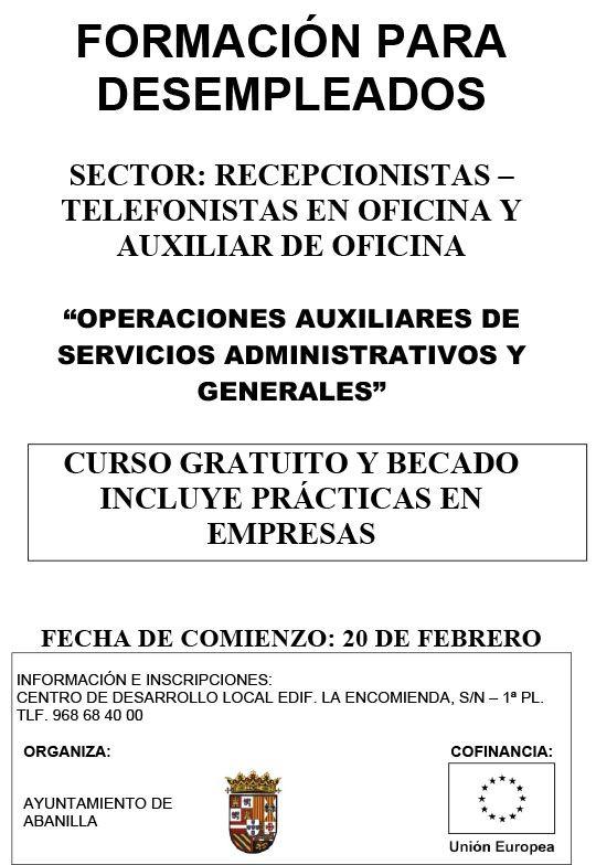 cartel curso recepcionista 2017