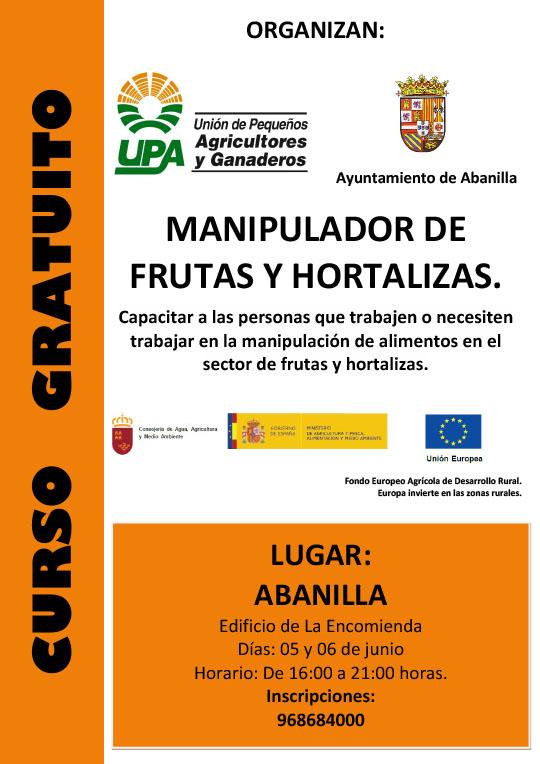Cartel Curso Manipulador Fruta y Hortalizas Abanilla 2017
