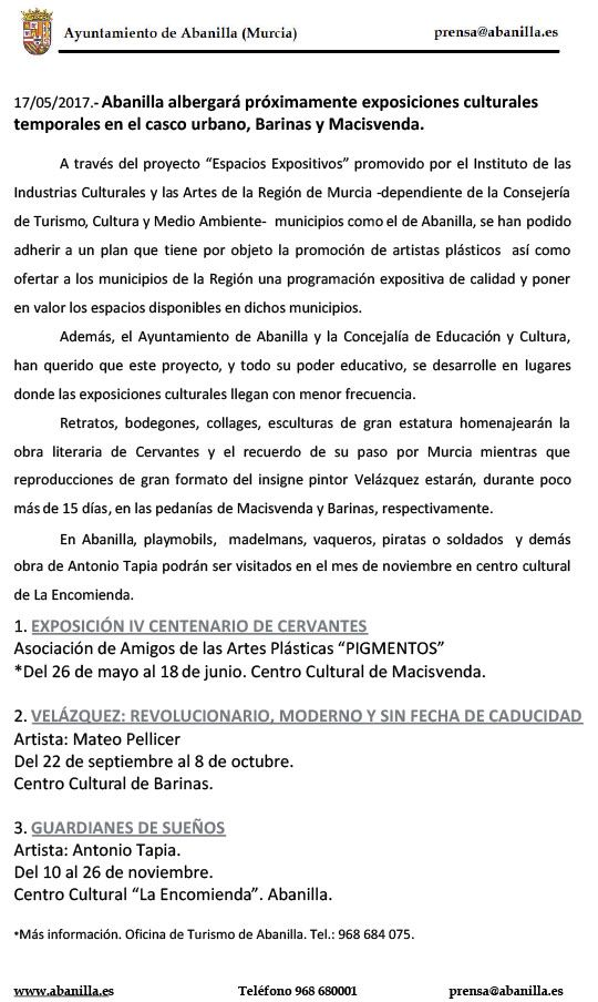 Nota Prensa Exposiciones Culturales