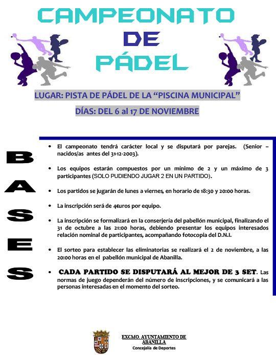 CARTEL CAMPEONATO DE PADEL