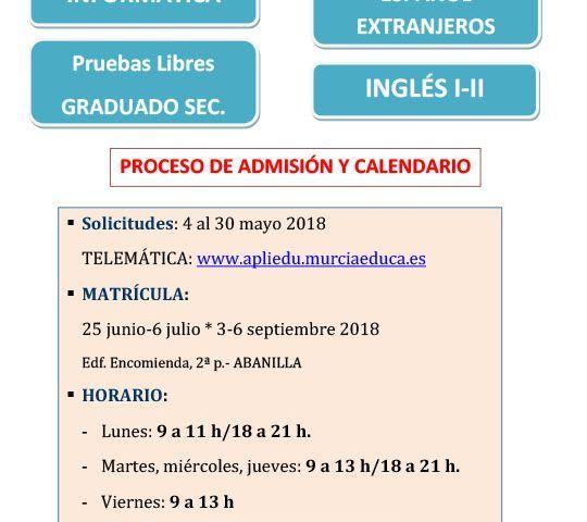 Cartel Abanilla curso 2018 19 MATRICULACION