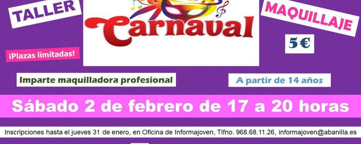 cartel taller maquillaje de carnaval 2019